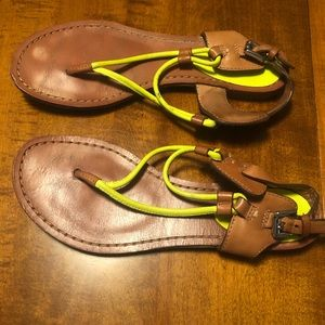 COACH neon yellow sandals, size 6